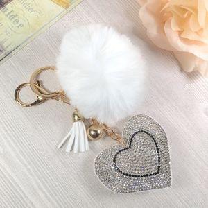 Accessories - Rhinestone Heart Furry Tassel Keychain